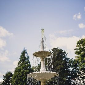 Fountain in the grounds of Hawkesyard Estate