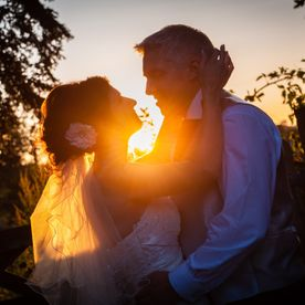 Bride and Groom photography in sunset at Hawkesyard Estate
